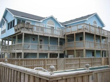 Exterior with tons of decking to watch the morning sun rise! - 8BR (6 Masters)! Pool, Hot Tub, Elev! 7/11 AVAIL - Corolla - rentals