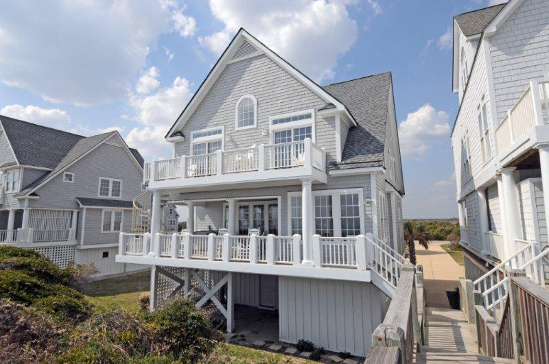 View of the house from the crosswalk with direct access from front porch - 6BR Beachfront Home w/ Hottub wk of 6/6 $2995 - North Topsail Beach - rentals