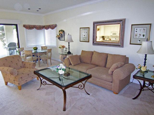 Living Room & Dining Area - Luxury Golf Condo - Desert Princess Country Club - Cathedral City - rentals