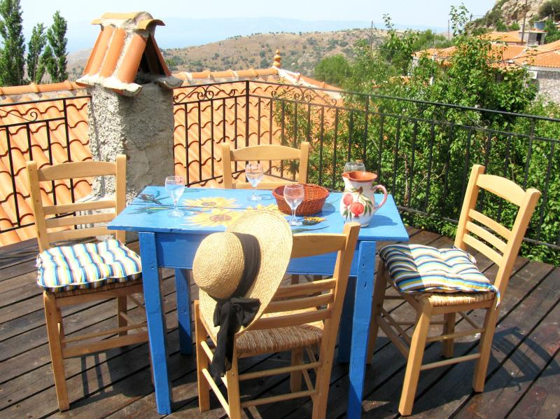 Relax or entertain on rooftop terrace, and enjoy breathtaking views of Aegean Sea and near mountains - Mermaid's Cottage on Lesbos Island, Greece - Vafios - rentals