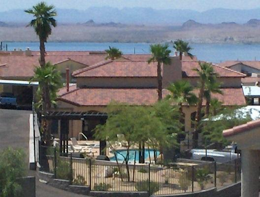 View from Dining Room Window - Gated Community Newer Condo Lake View Jacuzzi Pool - Lake Havasu City - rentals