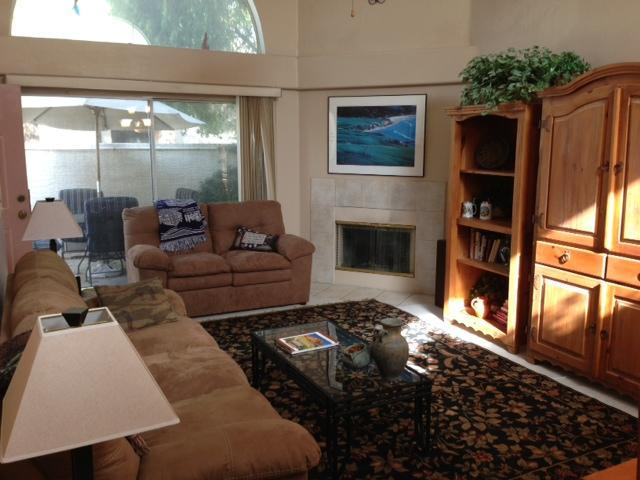 Living Room with shades open to patio - Beautifully Furnished Quiet 2 Bdrm Patio Home - Chandler - rentals