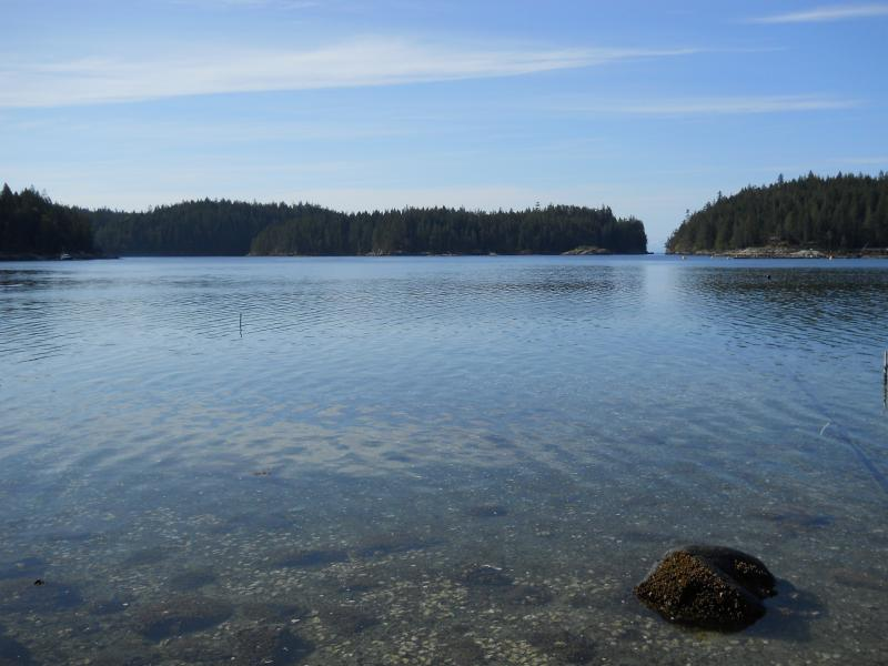 Gorge Opening View from Beach below WIlcox Lodge - Cortes Beachfront Home w/Hot Tub& Kayak on 5 Acres - Cortes Island - rentals