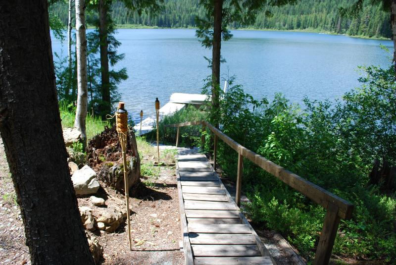 Private Dock and Row Boat Right in Front of Cabin - Aspen Shores Cabin on Spoon Lake near Glacier National Park - Columbia Falls - rentals