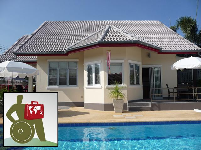 Pool, terrace, south side of the house - Pool villa Red, WHEELCHAIR ACCESS, serviced. - Hua Hin - rentals