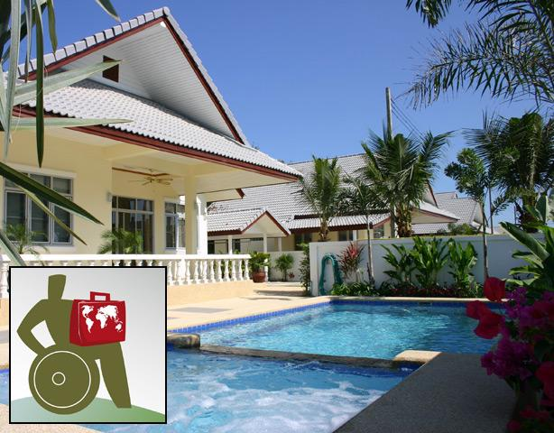 Pool villa, wheelchair accessible, 3 bedrooms, 2 bathrooms, living and kitchen, porch, terrace - Coconut WHEELCHAIR ACCESSIBLE Pool villa serviced. - Hua Hin - rentals