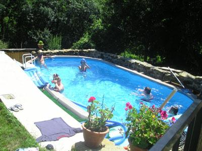Guests enjoying the pool - Pretty stone cottage, woodland view, garden & pool - Festes-et-Saint-Andre - rentals