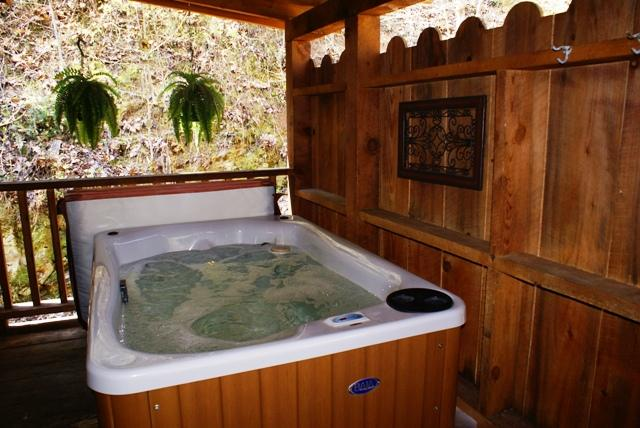 Private Hot tub located on covered wrap-around porch - Honeymoon Hideaway - Smoky Mountain Cabin - Sevierville - rentals