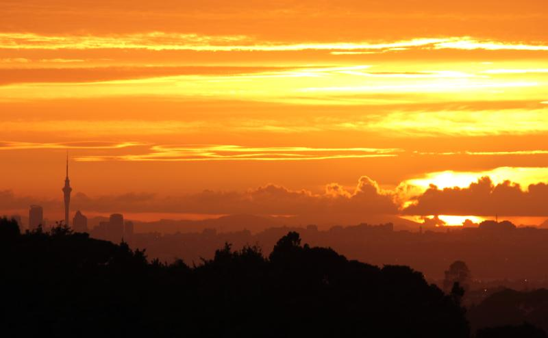 View of sunrise over city from apartments - Scenic Drive Apartment 1 - Auckland - rentals