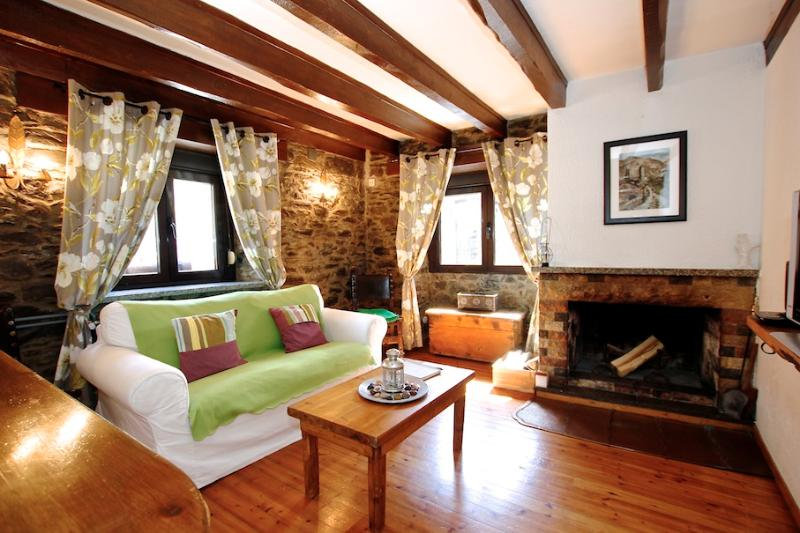 Living area with cosy fireplace - Cosy 1 bedroom apartment with fireplace - Arans - rentals