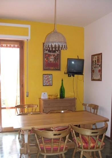 dining room with television in front a green park - Great apartment in Umbria on the Lake Trasimeno - Castiglione Del Lago - rentals