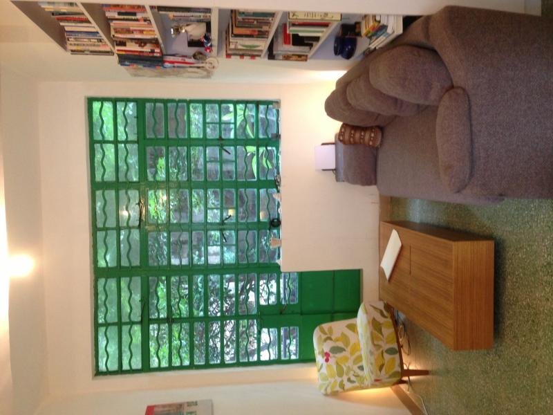 Living room with balcony and old HK style window - Charming Old Style Rental in Central SoHo, Hong Kong - Hong Kong - rentals
