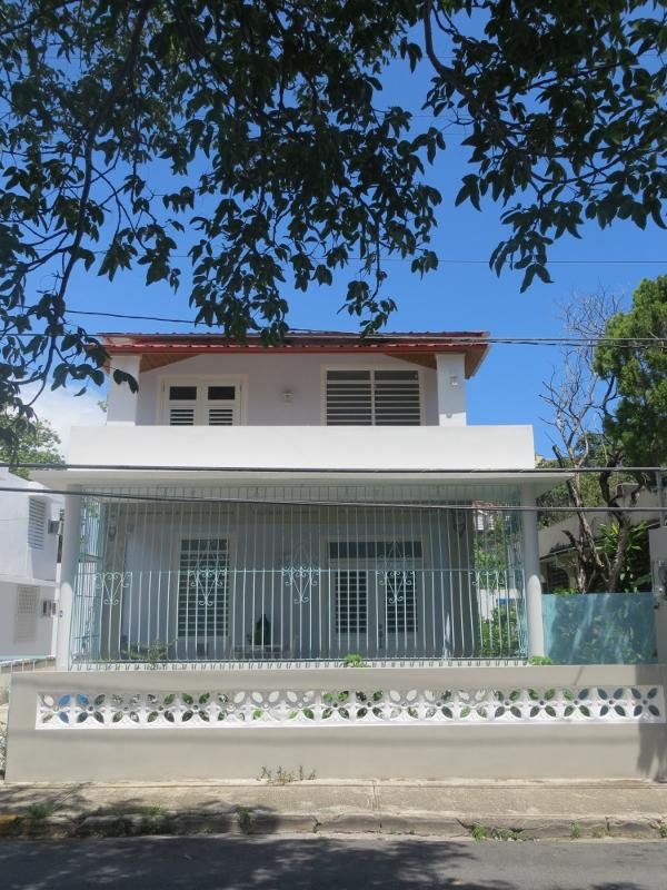 Casa Estrella, front of house with 1st floor porch and 2nd floor balcony - Entire Two-story Home in San Juan - Casa Estrella - San Juan - rentals