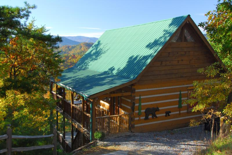Everything about this cabin delights - nestled in trees, completely private w/ unique wood carvings - Stunning Views! Privacy, 3 King beds, many extras! - Pigeon Forge - rentals