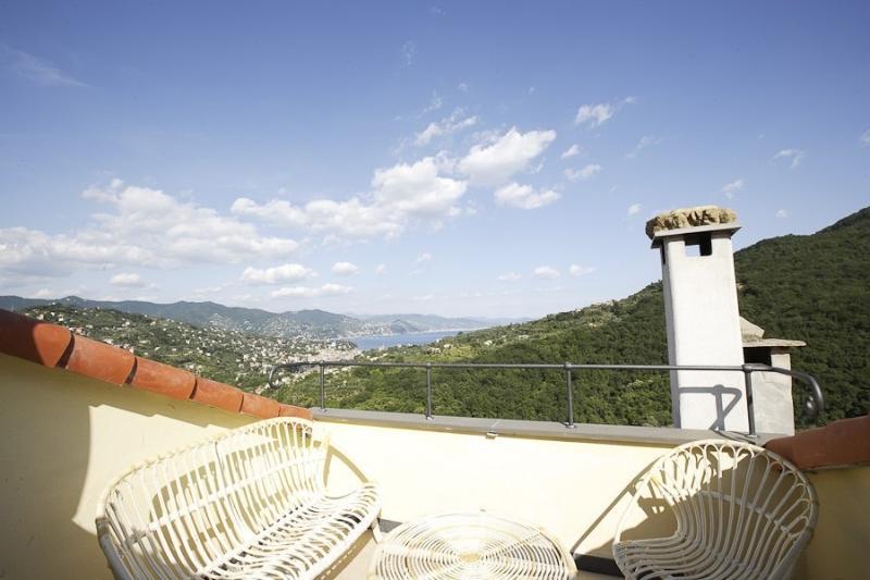 Terrace - Casa Margherita:tipical house Monte di Portofino - San Lorenzo della Costa - rentals