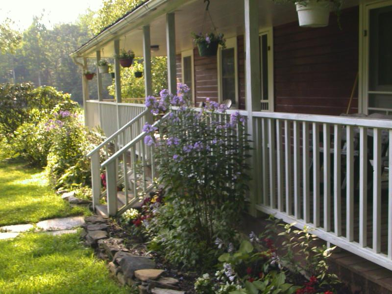 Porch and cottage garden - Red Cottage- Blackberry Suite on 300 acres - Spruce Pine - rentals