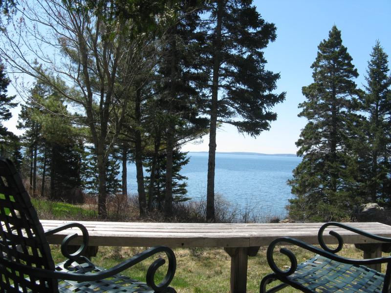 SE View across the lawn from the deck - Cedarledge at Seaside Cottages, waterfront, Acadia - Southwest Harbor - rentals