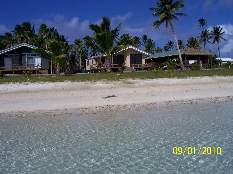 Ootu Beach house far right, dark brown coloured - Affordable Home with the best beach and views on Aitutaki! - Aitutaki - rentals
