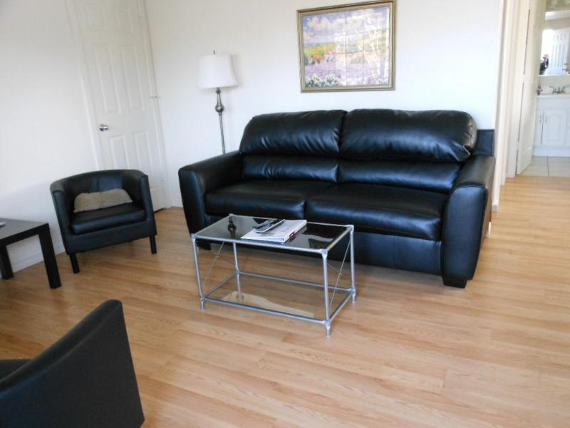 Living Room with Sofa Sleeper - Hood River in Downtown1B/1B Condo- King Bed-AC-BBQ - Hood River - rentals