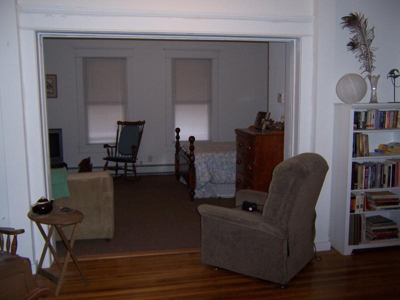 view into bedroom/living area- pocket doors in foreground - Luxurious private studio apt.-Catskill Mt comfort- - Big Indian - rentals