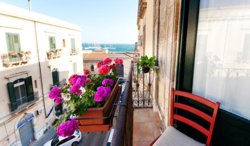 one of two balconies - the best Sicilian holidays.Siracusa - Syracuse - rentals