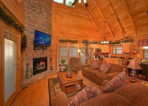 Living Room - Stone Stacked Electric Fireplace - 52