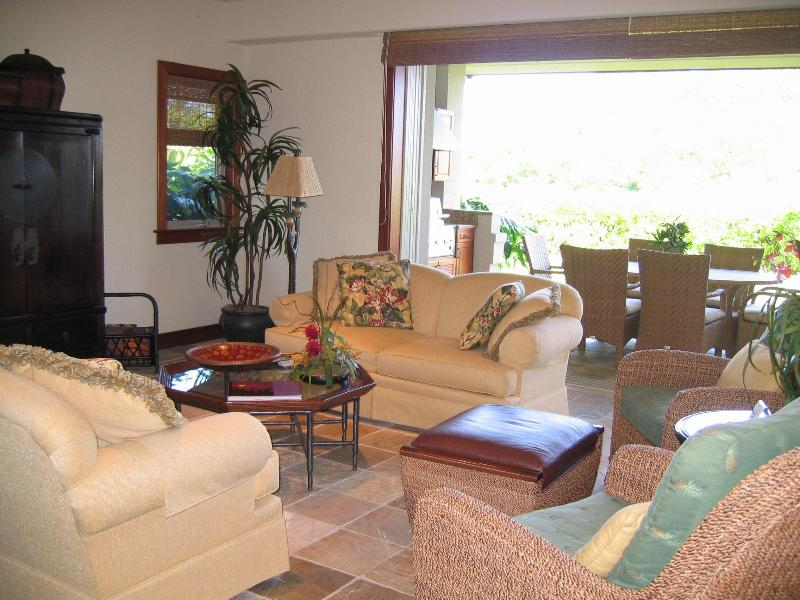 Living Room toward back lanai and garden - Mauna Lani Villages-Luxury Townhome from $299/nt - Kohala Ranch - rentals