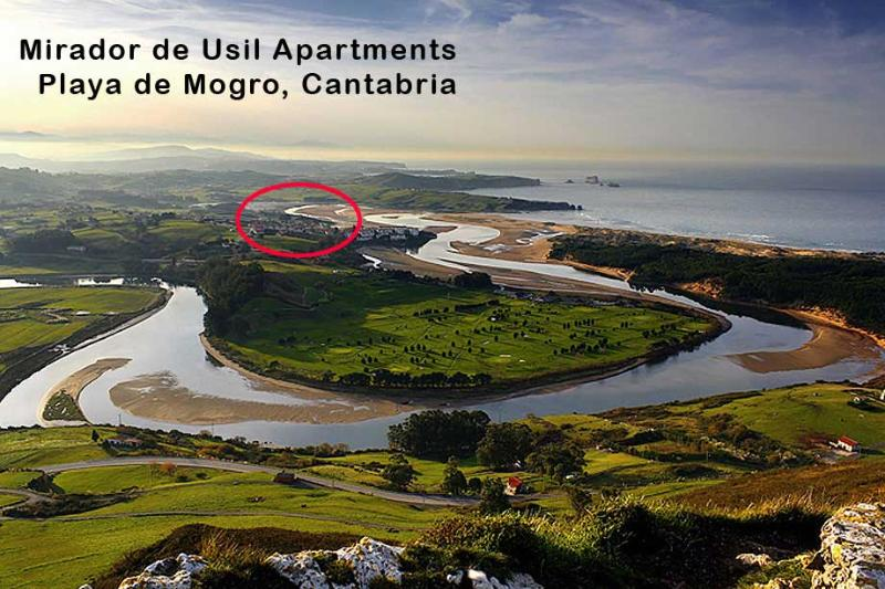 Abra del Pas golf course, Mogro Playa town and apartment location - Liencres Beach Views Mogro Cantabria Apartment J2 - Mogro - rentals