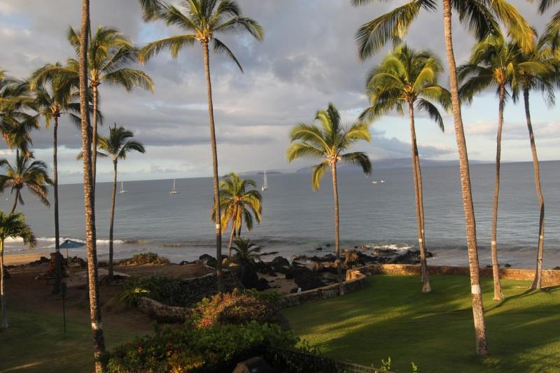Lanai morning view-enjoy your coffee or tea, while watching whales, turtles, and rays. - OCEANFRONT CONDO-INCREDIBLY BEAUTIFUL 2 BR 2 BATH - Kihei - rentals