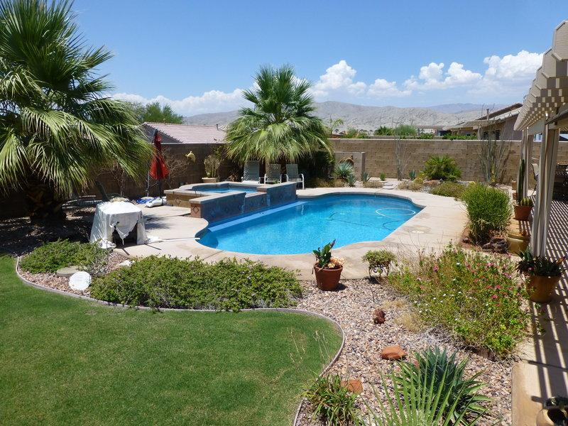 Saltwater Pool/spa with waterfalls surrounded by palm trees & desertscape with mountain views - Beautiful & Private Pool/Spa Desert Oasis w/RVpad - Indio - rentals