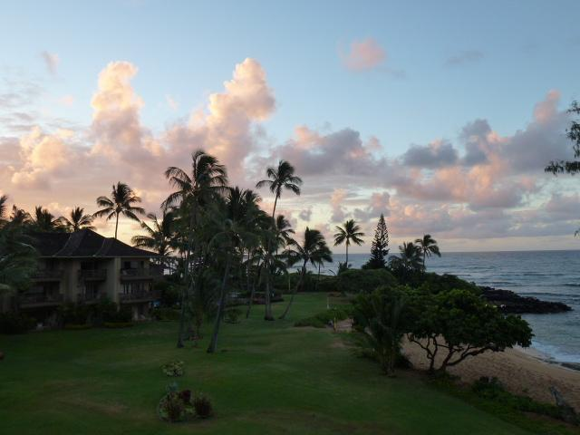 Sunrise View From the Living Room Lanai - Quiet and Private Oceanfront Condo - Kapaa - rentals