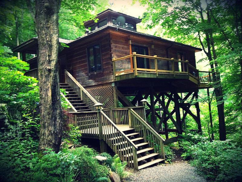 Exterior of Home, perched on a mountainside at over 3500 ft elevation in the Blue Ridge Mountains - Zen Mountain House / Cabin 25 mi from Asheville - Marshall - rentals