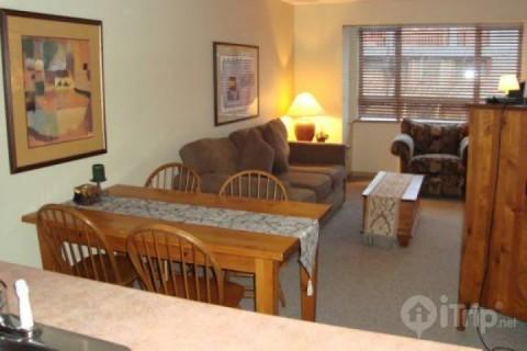 Living Room with Sofa bed and access to deck - Comfortable well equipped 1 bed , 1 bath condo in Deer Lodge unit #355 - Whistler - rentals