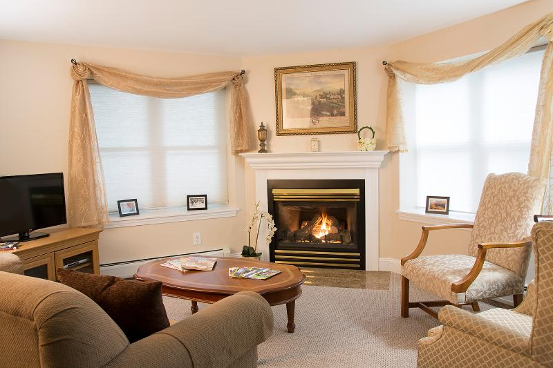 Lincoln - upholstered chairs and fireplace - Lincoln Garden Apartment - Ashland - rentals