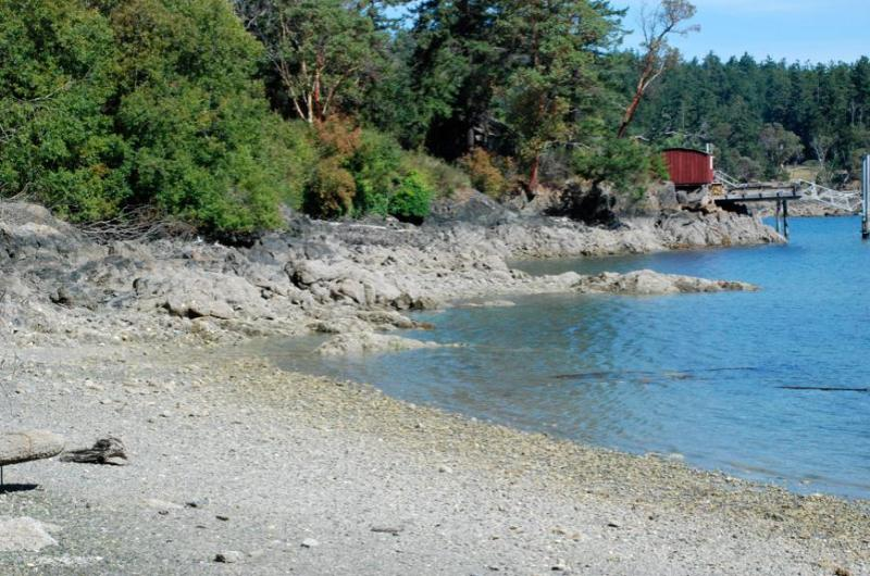 beach with view of red boat house - Cottage by the Bay - Deer Harbor - rentals
