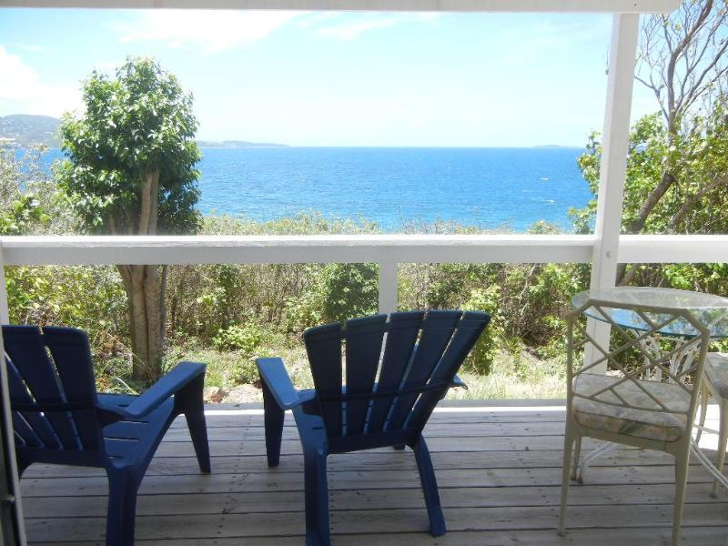 View from the porch - Oceanfront one bedroom apartment on Water Island, St. Thomas, U.S. Virgin Islands - Saint Thomas - rentals