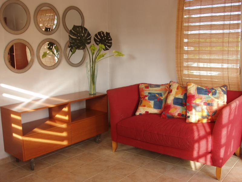 Living room with sofa bed and ceiling fan - OCEAN PARK,CONDADO BEACH APT, Private & Gay friendly - Puerto Rico - rentals