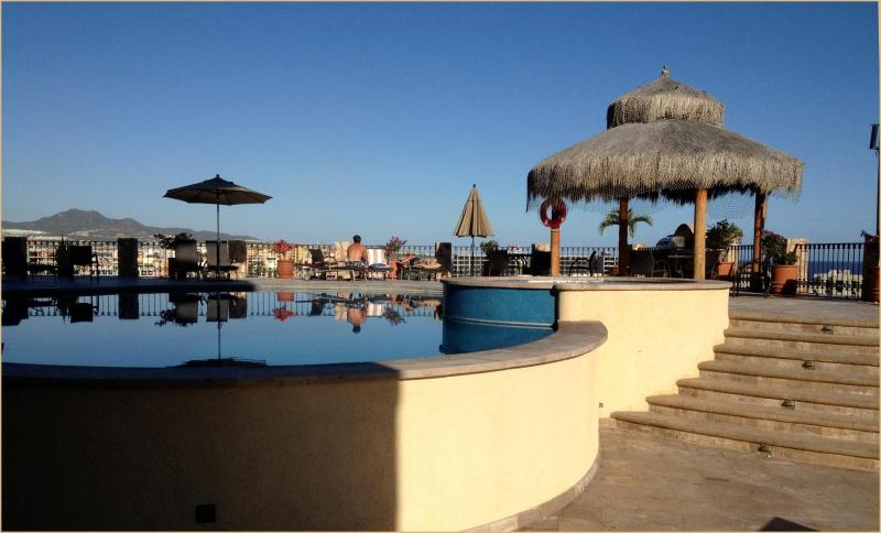 Our Pool & Hot Tub area - Luxury Condo Close to the Action with Amenities and a View - Cabo San Lucas - rentals