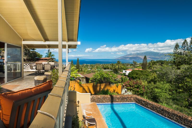 Amazing Ocean view from upper deck - Wailea Home with Private Pool and Ocean View - Wailea - rentals