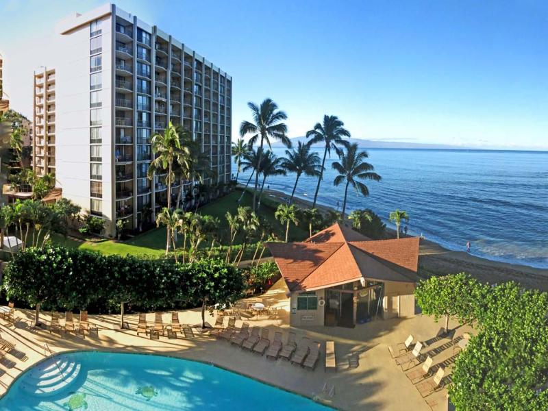 View of the pool and the beach taken from our Lanai - Royal Kahana #512 -Spectacular Ocean Front Condo - Maui - Lahaina - rentals