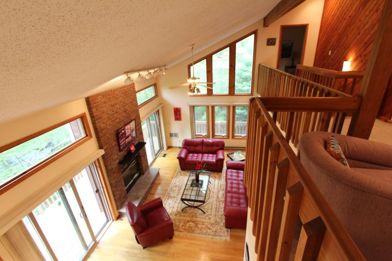 Inside view of living room from loft - Creek front, Spacious and clean.Sleeps 8-10. Near - Bushkill - rentals