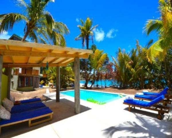 A modern, chic, eco 4 bedroom house with a swimming pool on the white sands of a beautiful Caribbean beach, 4 expertly decorated - Image 1 - Friendship Beach - rentals