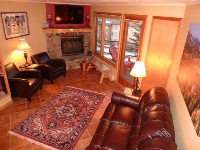 Living Room with Fireplace and TV - Gorgeous Views Luxurious Inside Excellent Location - Crested Butte - rentals