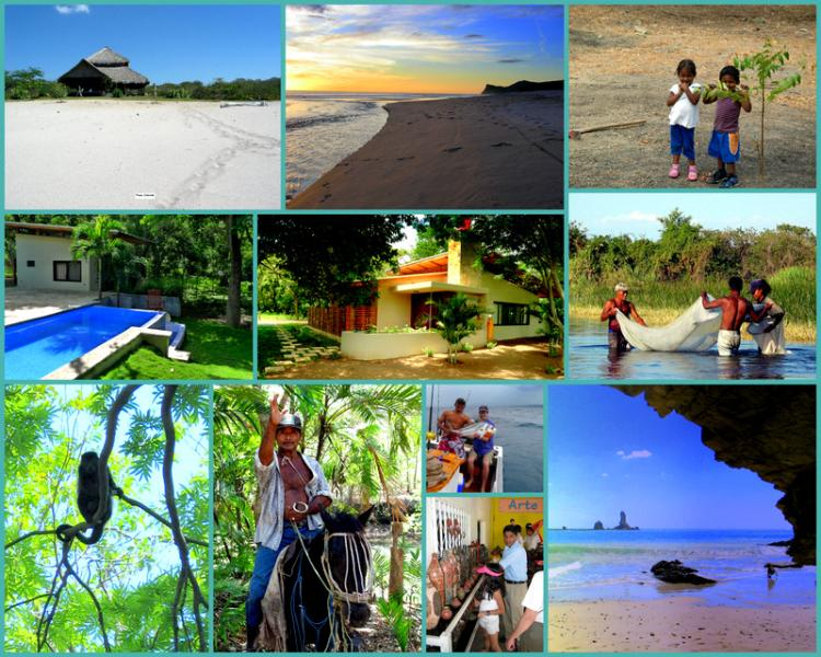 Collage of sights around Casa Rio - Sweet Casa Rio 5 minute walk to great surf! - Tola - rentals