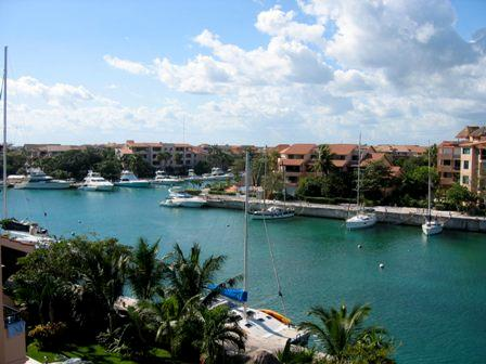 Marina View from Balcony - Solar-Powered Penthouse-2 BR-Rooftop Ocean Views - Puerto Aventuras - rentals