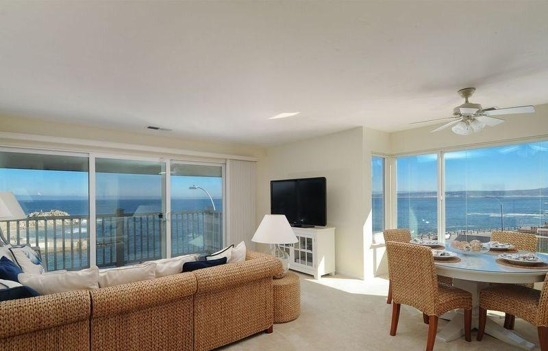 Living Room with a Panoramic Ocean View of Monterey Bay and Lover's Point - Panoramic Ocean View Townhome at Lover's Point - Pacific Grove - rentals