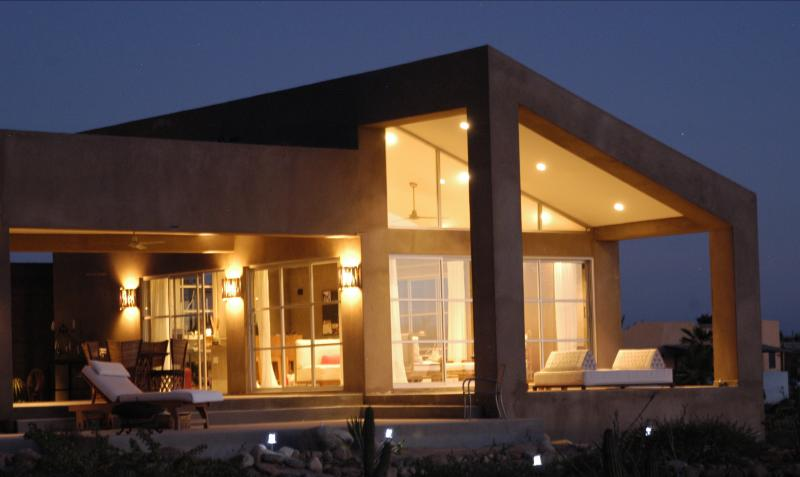 Casa Linda Exterior at Night - Modern House near the Pacific Ocean - Todos Santos - rentals