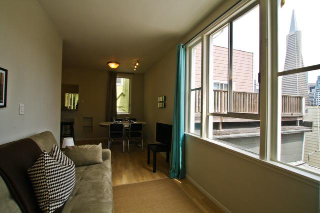 Living room with great views of the city - North Beach Columbus Views - San Francisco - rentals