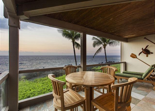 Teak Dining Table on Ocean Front Lanai - Exquisite Ocean Front 2 Bedroom, 2 Bathroom at Surf & Racquet 1206-SR 1206 - Kona Coast - rentals