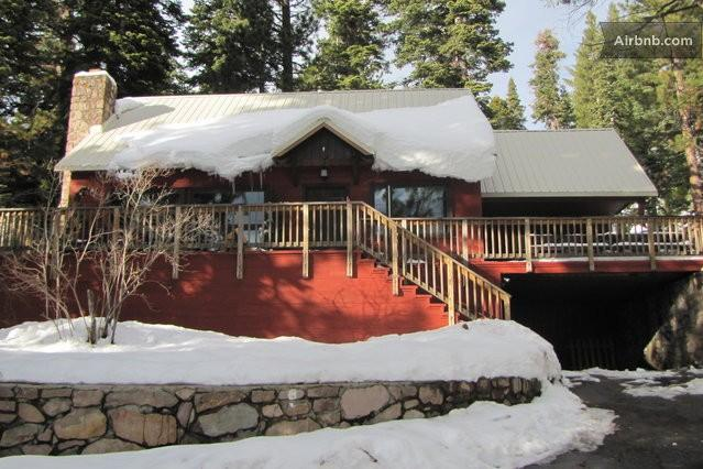 Front view of House with Snow! - $75 off July at Red House by the Lake W Hot Tub - Tahoe Vista - rentals